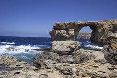 Finestra azzurrata, Malta Immagini Stock Libere da Diritti