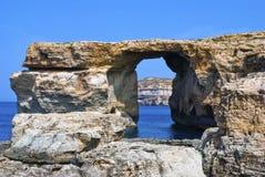 Finestra azzurrata, Malta, isola di Gozo Fotografia Stock