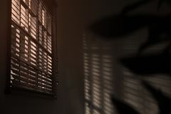 Finestra con i ciechi orizzontali nella sala immagine stock libera da diritti