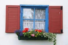 Finestra con i fiori immagine stock
