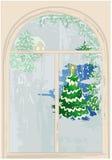 Finestra con l'albero di Natale Fotografia Stock
