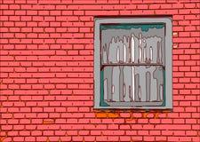 Finestra con la costruzione del muro di mattoni Fotografia Stock Libera da Diritti