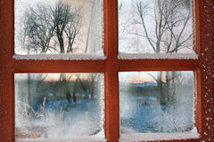 Finestra congelata Fotografie Stock Libere da Diritti
