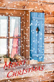Finestra del chalet bavarese nell'inverno - Buon Natale Fotografia Stock