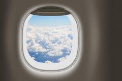 Finestra del getto o dell'aeroplano, concetto di viaggio Immagine Stock