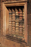 Finestra del tempio di Banteay Srei Immagini Stock Libere da Diritti
