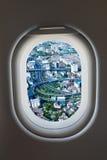 Finestra dell'aeroplano dall'interno degli aerei con l'alta vista di modo Immagine Stock Libera da Diritti
