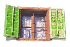 Finestra dell'annata con gli otturatori verdi Fotografia Stock