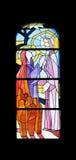 Finestra della chiesa del vetro macchiato nella chiesa di parrocchia di St James in Medugorje Fotografia Stock Libera da Diritti