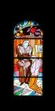 Finestra della chiesa del vetro macchiato nella chiesa di parrocchia di St James in Medugorje Fotografie Stock Libere da Diritti