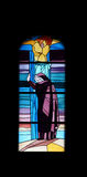 Finestra della chiesa del vetro macchiato nella chiesa di parrocchia di St James in Medugorje Immagini Stock Libere da Diritti