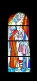Finestra della chiesa del vetro macchiato nella chiesa di parrocchia di St James in Medugorje Fotografia Stock