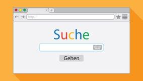 Finestra di browser piana di stile su fondo arancio Illustrazione del motore di ricerca iscrizioni royalty illustrazione gratis