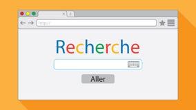 Finestra di browser piana di stile su fondo arancio Illustrazione del motore di ricerca illustrazione vettoriale