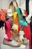 Finestra di deposito delle scarpe Fotografia Stock
