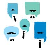 Finestra di dialogo con i baffi ed i legami Una collezione di finestre di dialogo di vettore per gli uomini illustrazione di stock