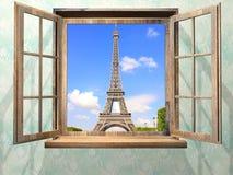 Finestra di legno aperta e vista sulla torre Eiffel, Parigi Immagine Stock