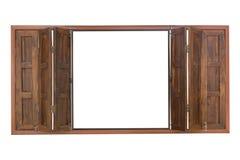 finestra di legno isolata su bianco Fotografie Stock Libere da Diritti
