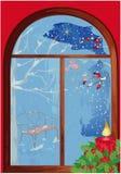 Finestra di natale con la candela Fotografie Stock Libere da Diritti