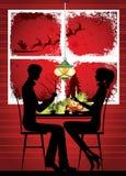 Finestra di natale e pranzo di natale. Fotografie Stock Libere da Diritti
