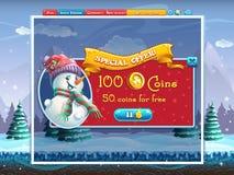 Finestra di offerta speciale di vacanze invernali per il gioco di computer Fotografie Stock Libere da Diritti