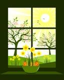 Finestra di Pasqua Fotografie Stock