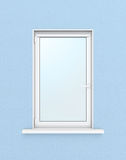 Finestra di plastica bianca sulla parete blu illustrazione 3D Fotografie Stock Libere da Diritti