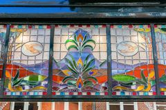 Finestra di stile di stile Liberty a Nimega, Paesi Bassi fotografia stock