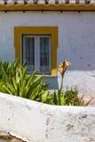 Finestra di una casa e di piccolo giardino Immagine Stock Libera da Diritti