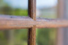 Finestra di vetro con la struttura di legno Fotografie Stock