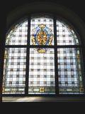Finestra di vetro della macchia con il Rod di Asclepio Fotografie Stock Libere da Diritti