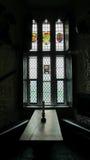 Finestra di vetro della macchia del castello Fotografie Stock Libere da Diritti