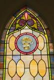 Finestra di vetro della macchia religiosa Immagini Stock Libere da Diritti