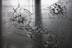 Finestra di vetro frantumata Fotografia Stock Libera da Diritti