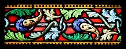 Finestra di vetro macchiata (Brittany, Francia) immagine stock
