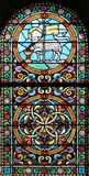 Finestra di vetro macchiata (Brittany, Francia) Immagini Stock