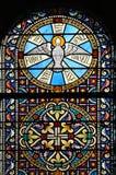 Finestra di vetro macchiata (Brittany, Francia) Fotografia Stock
