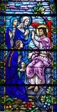 Finestra di vetro macchiata dell'angelo di risurrezione Immagine Stock
