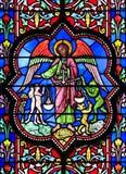 Finestra di vetro macchiata nella cattedrale di Bayeux Fotografie Stock Libere da Diritti