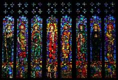 Finestra di vetro macchiata nella cattedrale di Chester, Regno Unito Fotografie Stock Libere da Diritti