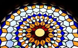 Finestra di vetro macchiata nella cattedrale di Mezquita Immagini Stock