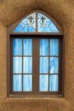 Finestra di vetro macchiata, San Geronimo, Taos Fotografia Stock