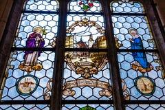 Finestra di vetro macchiato artistica a nuovo municipio a Monaco di Baviera, Germania Fotografia Stock