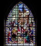Finestra di vetro macchiato con Giovanna d'Arco fotografia stock libera da diritti
