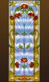 Finestra di vetro macchiato con il modello floreale immagine stock