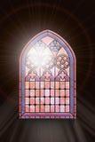 Finestra di vetro macchiato con luce solare Immagini Stock Libere da Diritti