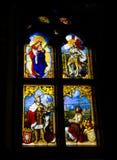 Finestra di vetro macchiato dal palazzo nazionale di Pena, Sintra, Portogallo Fotografie Stock
