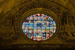 Finestra di vetro macchiato decorata Fotografie Stock Libere da Diritti
