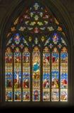 Finestra di vetro macchiato decorata immagine stock