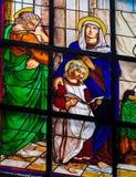 Finestra di vetro macchiato del bambino Gesù e Maria e Joseph Immagine Stock Libera da Diritti